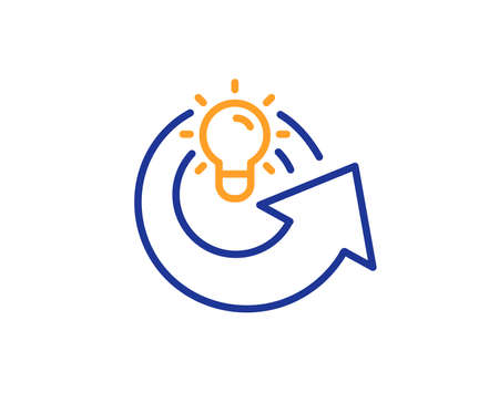 Share idea line icon. Light bulb or Lamp sign. Creativity, Solution or Thinking symbol. Colorful outline concept. Blue and orange thin line color icon. Share idea Vector