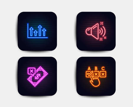 Neon glow lights. Set of Loud sound, Upper arrows and Rejected payment icons. Correct checkbox sign. Music, Growth infochart, Bank transfer. Answer.  Neon icons. Glowing light banners. Vector