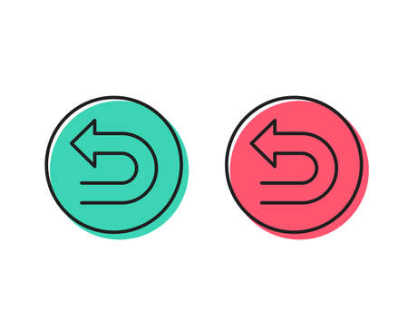 Undo arrow line icon. Left turn direction symbol. Navigation pointer sign. Positive and negative circle buttons concept. Good or bad symbols. Undo Vector Illustration