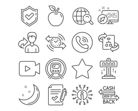 Set of Internet search, Approved agreement and Timer icons. Metro subway, Video camera and Technical algorithm signs. Attraction, Star and Cashback card symbols. Vector
