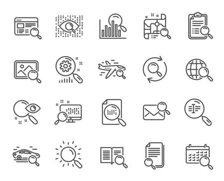 Search line icons. Set of Indexation, Artificial intelligence and Car rental linear icons. Airplane flights, Web search engine and Analytics graph symbols. Photo, Find text and mail. Vector