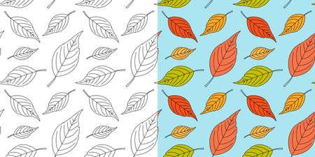 Autumn leaf seamless pattern. Fall leaves texture. Seasonal background with leaf pattern. Swatches with autumn leaves. Fall season decoration. Vector 向量圖像