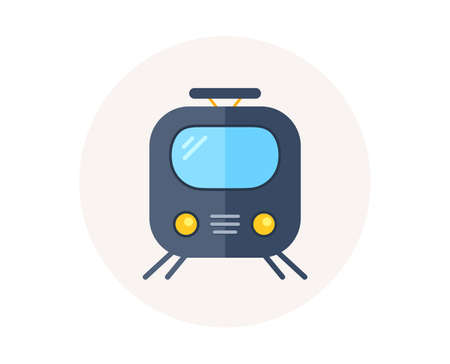 Railway icon. Train or rail station sign. Public transportation symbol. Subway train transport. Metro underground. Railway vector