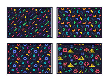 Geometric pattern. Abstract seamless texture. Colorful geometric figures or shapes. Swatches with graphic pattern. Hipster fashion Memphis style texture. Abstract line decoration composition. Vector Illustration