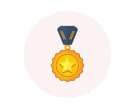 Ikona medal zwycięzcy. Złoty znak nagrody. Symbol nagrody sukcesu. Zdobywca pierwszego miejsca. Kolorowa ikona w przycisk koło. Najlepszy medal, trofeum sportowe wektor Ilustracje wektorowe