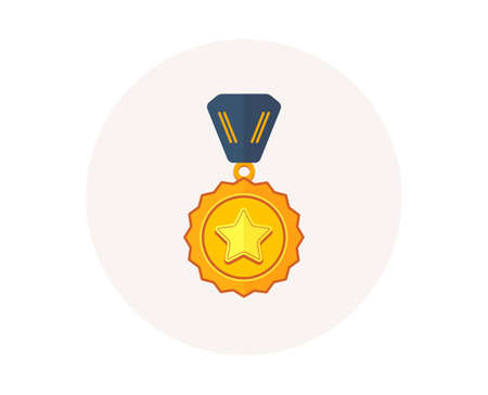 Winner medal icon. Golden prize sign. Success award symbol. First place winner. Colorful icon in circle button. Best medal, sport trophy vector Foto de archivo - 111104892