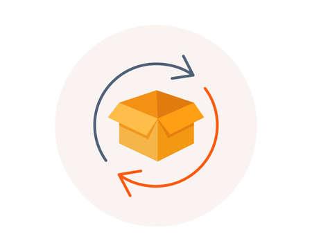 Paketsymbol zurückgeben. Warenaustausch Zeichen. Paketverfolgungssymbol. Verteilung oder Lieferpaket. Paket zurücksenden. Bunte Austauschsymbol. Postamt-Vektor