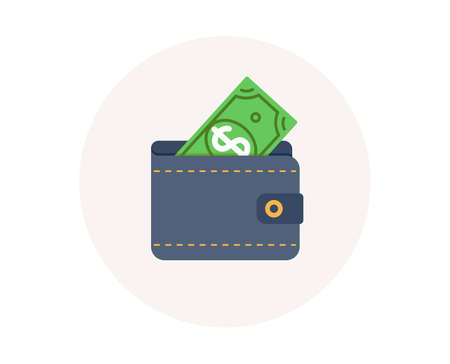 Wallet icon. Dollar money cash. Financial payment. Finance savings. Wallet with dollar. Colorful financial icon in circle button. Usd cash payment vector