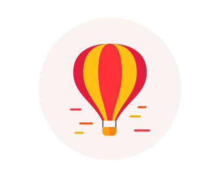 Air balloon icon. Airship transportation. Delivery transport by air of goods and people. Balloon airship with basket. Colorful aircraft icon in circle button. Flight transport vector Ilustração Vetorial