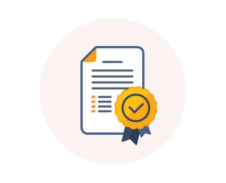 Icona del diploma di certificato. Documento di laurea con segno di medaglia. Simbolo del diploma di certificazione di istruzione. Medaglia del premio al successo. Vettore del documento di certificato.