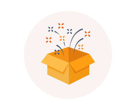 Present, surprise gift box. Birthday celebration icon. Loyalty program reward package. Open gift sign. Winner prize. Give package box vector Illustration