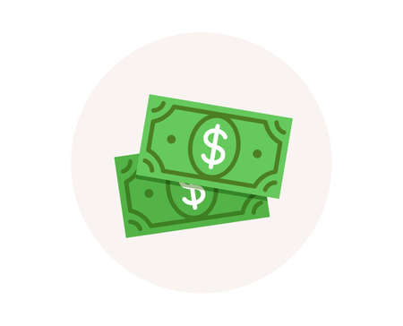 Dollar money icon. Cash payment sign. Wealth management. Currency usd dollar symbol. Savings money. Financial wealth. Colorful icon in circle button. Payment vector Ilustracja
