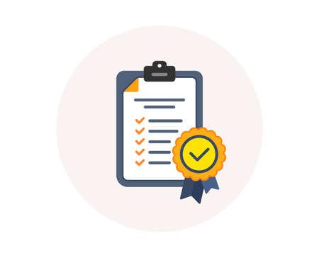 コンプライアンスアイコン。チェックリストのサイン。認定ドキュメントシンボル。承認プロセス。会社は検査に合格しました。円のボタンでカラフルなコンプライアンスアイコン。認定承認チェックリスト。検証済みベクトル ベクターイラストレーション