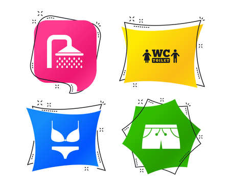 Swimming pool icons. Shower water drops and swimwear symbols. WC Toilet sign. Trunks and women underwear. Geometric colorful tags. Banners with flat icons. Trendy design. Vector