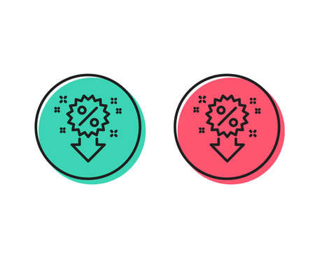 Discount line icon. Sale shopping sign. Clearance symbol. Positive and negative circle buttons concept. Good or bad symbols. Discount Vector