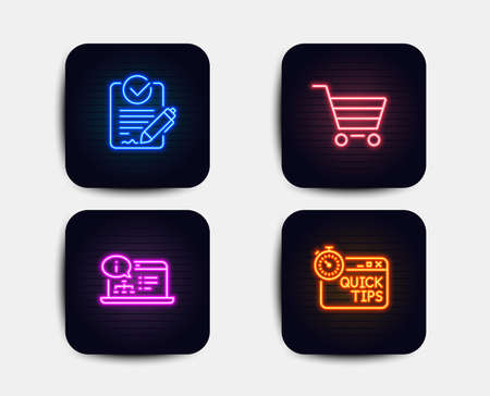 Neon glow lights. Set of Market sale, Online documentation and Rfp icons. Quick tips sign. Customer buying, Web engineering, Request for proposal. Helpful tricks.  Neon icons. Glowing light banners Stock Vector - 111195778
