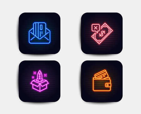 Neon set of Startup, Rejected payment and Credit card icons. Debit card sign. Innovation, Bank transfer, Mail. Neon payment icons. Glowing light banners. Vector Illustration