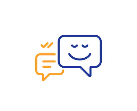 Message speech bubbles with Smile line icon. Chat emotion sign. Colorful outline concept. Blue and orange thin line color icon. Happy emotion Vector