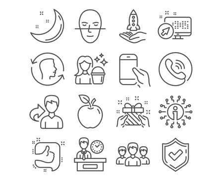 Set of Crowdfunding, Group and Presentation time icons. Face id, Gift and Like signs. Cleaning, Hold smartphone and Face recognition symbols. Start business presentation, Group, Report. Vector