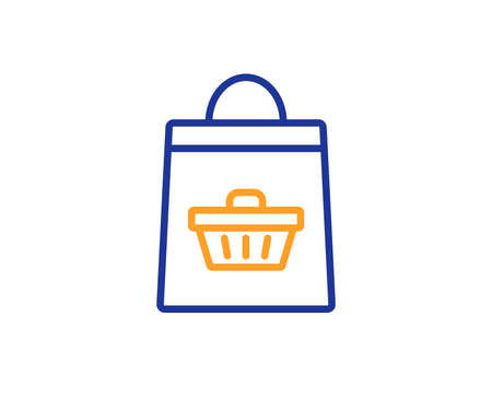 Shopping bag with cart line icon. Supermarket buying sign. Sale symbol. Colorful outline concept. Blue and orange thin line color icon. Online buying Vector Illustration