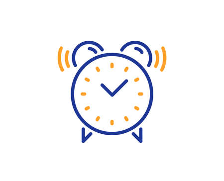 Alarm clock line icon. Time or watch sign. Colorful outline concept. Blue and orange thin line color icon. Alarm clock Vector