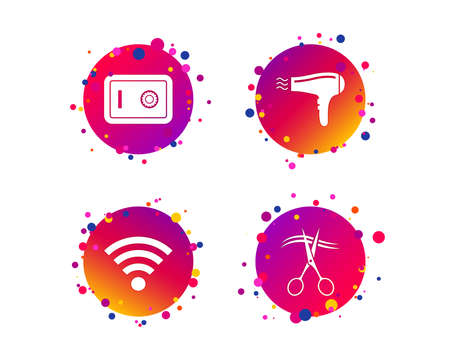 Hotel services icons. Wi-fi, Hairdryer and deposit lock in room signs. Wireless Network. Hairdresser or barbershop symbol. Gradient circle buttons with icons. Random dots design. Vector Ilustração