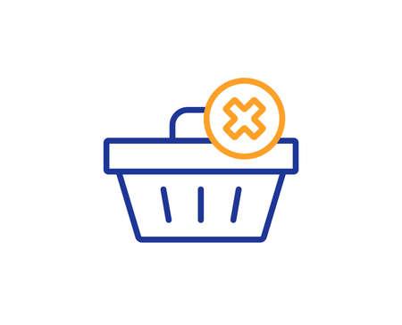 Remove Shopping cart line icon. Online buying sign. Supermarket basket symbol. Colorful outline concept. Blue and orange thin line color icon. Delete order Vector Illustration