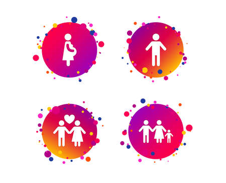 Family lifetime icons. Couple love, pregnant and birth of a child symbols. Human male person sign. Gradient circle buttons with pregnant icons. Random dots design. Vector