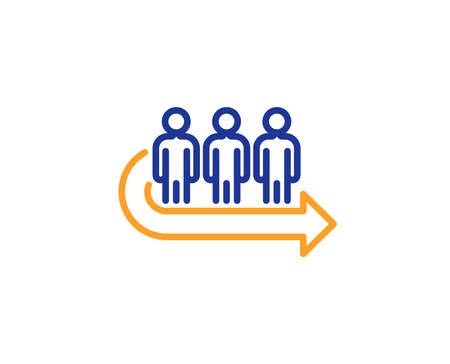 Queue line icon. People waiting sign. Direction arrow symbol. Colorful outline concept. Blue and orange thin line color icon. Queue Vector Illustration