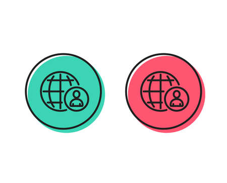 International business recruitment line icon. Global human resources sign. Positive and negative circle buttons concept. Good or bad symbols. International recruitment Vector