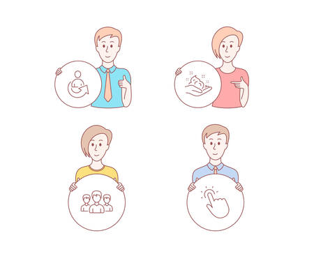 People hand drawn. Set of Share, Group and Skin care icons. Touchpoint sign. Referral person, Group of people, Hand cream. Touch technology. Character hold circle button. People vector.