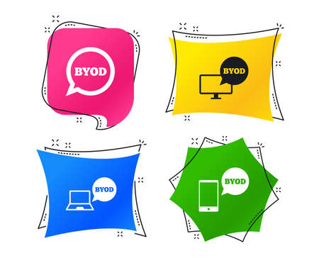 BYOD icons. Notebook and smartphone signs. Speech bubble symbol. Geometric colorful tags. Banners with flat icons. Trendy design. Vector