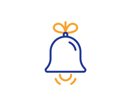Christmas bell line icon. New year tree decoration sign. Colorful outline concept. Blue and orange thin line color icon. Bell Vector 일러스트