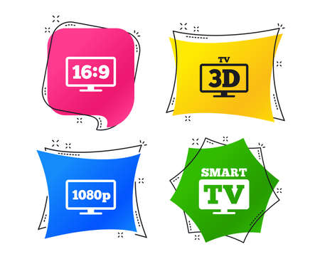 Smart TV mode icon. Aspect ratio 16:9 widescreen symbol. Full hd 1080p resolution. 3D Television sign. Geometric colorful tags. Banners with flat icons. Trendy design. Vector