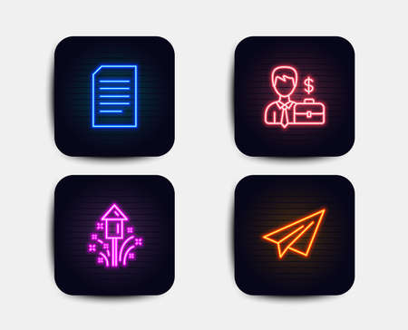 Neon glow lights. Set of Fireworks, Businessman case and Document icons. Paper plane sign. Christmas pyrotechnic, Human resources, Information file. Airplane. Neon icons. Document vector