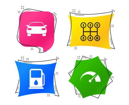 Transport icons. Car tachometer and manual transmission symbols. Petrol or Gas station sign. Geometric colorful tags. Banners with flat icons. Trendy design. Vector Stockfoto - 111195793