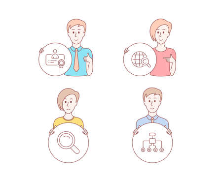 People hand drawn. Set of International Copyright, Certificate and Search icons. Restructuring sign. World copywriting, Best employee, Magnifying glass. Delegate. Certificate vector