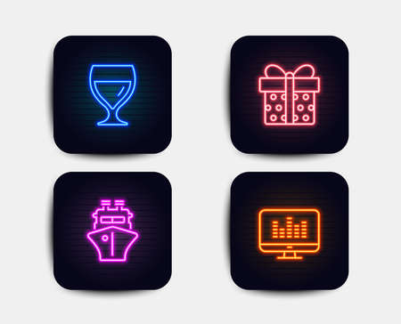 Neon glow lights. Set of Gift box, Ship and Wine glass icons. Music making sign. Present package, Shipping watercraft, Cabernet wineglass. Dj app. Neon icons. Gift box vector