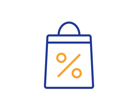 Shopping bag with Percentage line icon. Supermarket buying sign. Sale and Discounts symbol. Colorful outline concept. Blue and orange thin line color icon. Shopping bag Vector