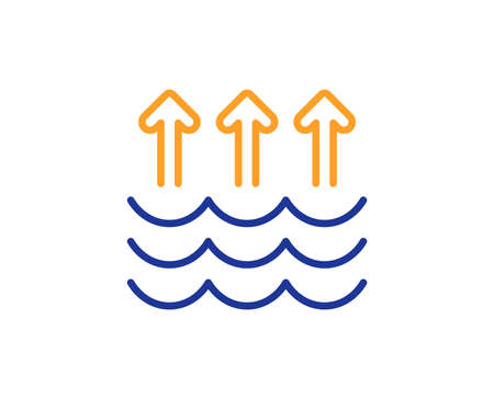 Evaporation line icon. Global warming sign. Waves symbol. Colorful outline concept. Blue and orange thin line color icon. Evaporation Vector Çizim