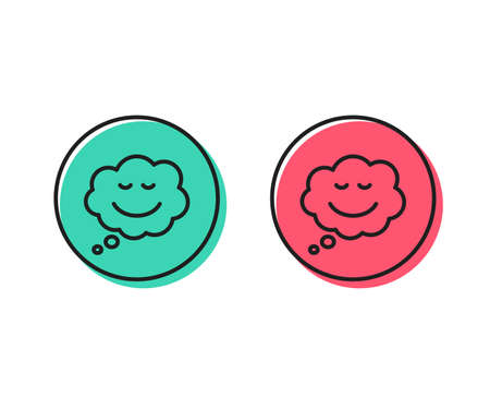 Comic speech bubble with Smile line icon. Chat emotion sign. Positive and negative circle buttons concept. Good or bad symbols. Speech bubble Vector