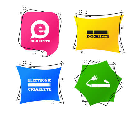 E-Cigarette with plug icons. Electronic smoking symbols. Speech bubble sign. Geometric colorful tags. Banners with flat icons. Trendy design. Vector Illustration