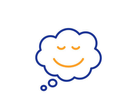 Comic speech bubble with Smile line icon. Chat emotion sign. Colorful outline concept. Blue and orange thin line color icon. Speech bubble Vector