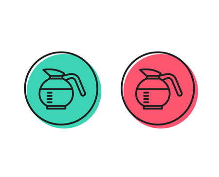 Coffeepot line icon. Coffee Hot drink sign. Brewed fresh beverage symbol. Positive and negative circle buttons concept. Good or bad symbols. Coffeepot Vector Stock Illustratie