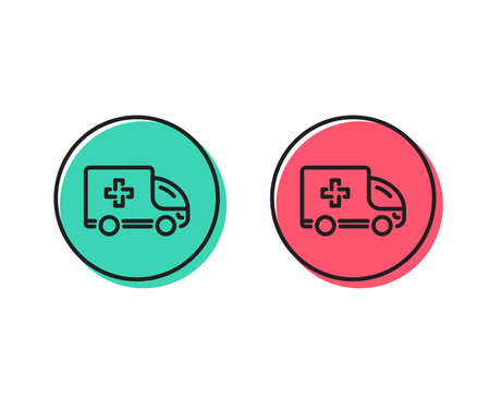 Ambulance emergency car line icon. Hospital transportation vehicle sign. Medical symbol. Positive and negative circle buttons concept. Good or bad symbols. Ambulance emergency Vector Illustration