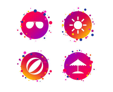 Beach holidays icons. Ball, umbrella and sunglasses signs. Summer sun symbol. Gradient circle buttons with icons. Random dots design. Beach sunglasses vector
