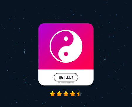 Ying yang sign icon. Harmony and balance symbol. Web or internet icon design. Rating stars. Just click button. Vector