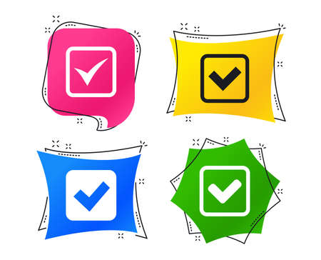 Check icons. Checkbox confirm squares sign symbols. Geometric colorful tags. Banners with flat icons. Trendy design. Vector