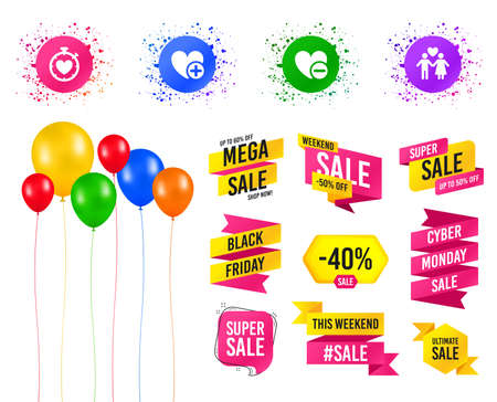 Balloons party. Sales banners. Valentine day love icons. Love heart timer symbol. Couple lovers sign. Add new love relationship. Birthday event. Trendy design. Vector