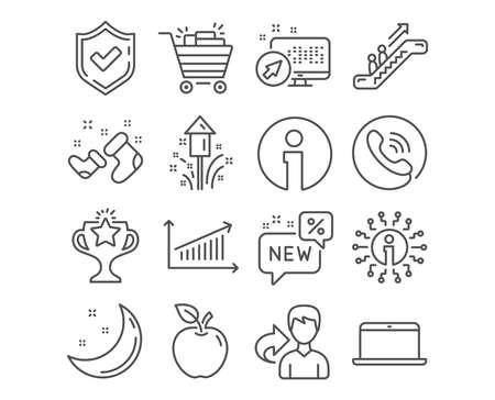Satz von Diagramm-, Laptop- und neuen Symbolen. Einkaufswagen, Sieges- und Feuerwerksschilder. Santa Stiefel, Rolltreppe und Info-Symbole. Präsentationsdiagramm, mobiler Computer, Rabatt. Einkaufswagen-Vektor Vektorgrafik